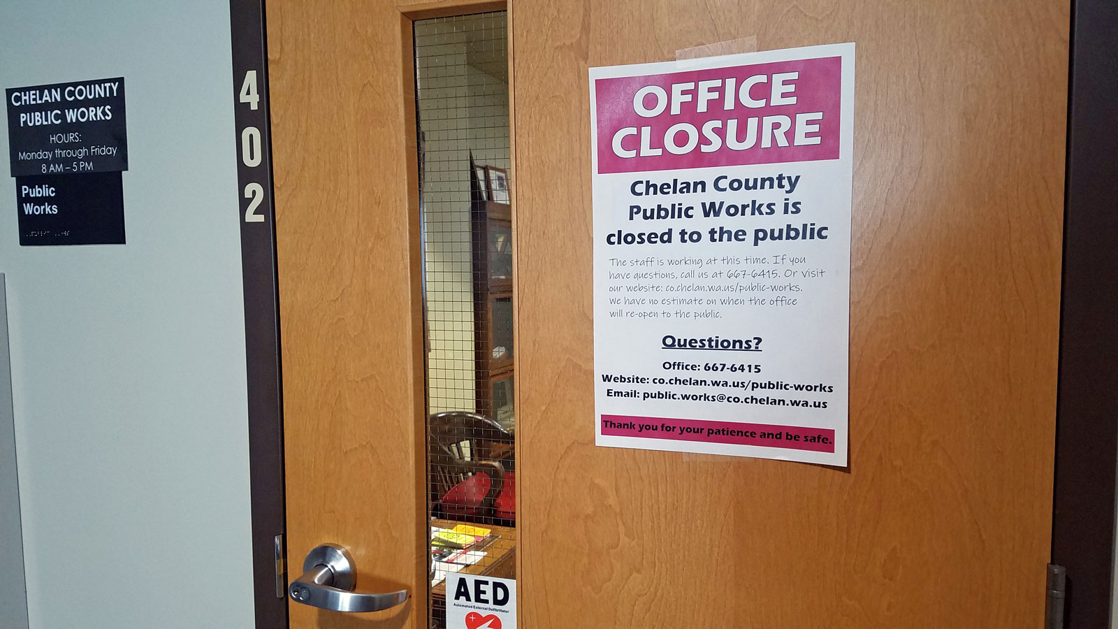 Public Works closes its office to the public