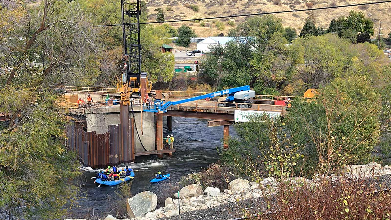 Signage at West Cashmere Bridge directs river recreationists through construction site